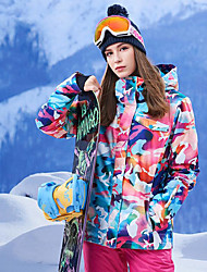 cheap -GSOU SNOW Women's Ski Jacket Ski / Snowboard Winter Sports Thermal / Warm Waterproof Windproof 100% Polyester Winter Jacket Top Ski Wear / Breathable / Floral Botanical / Breathable