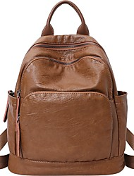 cheap -Cowhide Zipper Commuter Backpack Daily Brown / Black