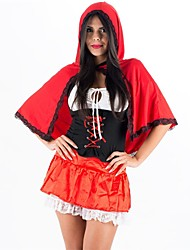 cheap -Princess Little Red Riding Hood Dress Skirt Cosplay Costume Headpiece Party Costume Adults Highschool Women's Cosplay Halloween Christmas Halloween Carnival Festival / Holiday Spandex Polyester Red