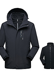 cheap -Men's Hoodie Jacket Hiking 3-in-1 Jackets Hiking Jacket Winter Outdoor Windproof Breathable Rain Waterproof Wear Resistance 3-in-1 Jacket Top Single Slider Camping / Hiking Ski / Snowboard Climbing