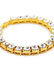 cheap -Men's Onyx AAA Cubic Zirconia Bracelet Bangles Tennis Bracelet Bracelet Stylish Tennis Chain Box Faith Luxury Hip-Hop Boho Rhinestone Bracelet Jewelry Black / Gold / Silver For Street Club