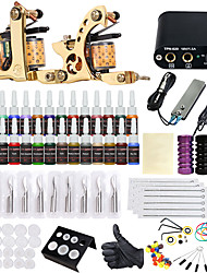 cheap -Tattoo Machine Starter Kit - 2 pcs Tattoo Machines with 28 x 5 ml tattoo inks, Professional LCD power supply Case Not Included 2 alloy machine liner & shader