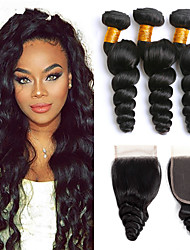 cheap -3 Bundles with Closure Malaysian Hair Loose Wave Human Hair Headpiece Extension Bundle Hair 8-24 inch Black Natural Color Human Hair Weaves Soft Silky Best Quality Human Hair Extensions / 8A