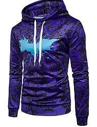 cheap -Men's Hoodie 3D Hooded Street chic Hoodies Sweatshirts  Long Sleeve Purple