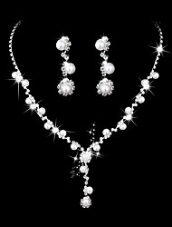cheap -Women's Necklace Classic Creative Classic Elegant Sweet Imitation Pearl Rhinestone Earrings Jewelry Silver For Wedding Party 1 set