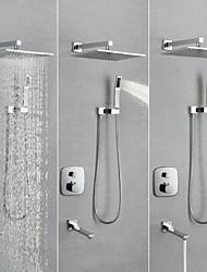 cheap -Shower Faucet / Bathroom Sink Faucet - Contemporary Chrome Wall Mounted Brass Valve Bath Shower Mixer Taps / Single Handle Four Holes