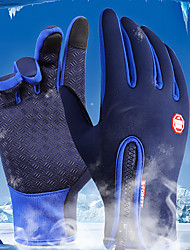 cheap -Winter Bike Gloves / Cycling Gloves Ski Gloves Mountain Bike MTB Thermal / Warm Touch Screen Waterproof Windproof Full Finger Gloves Touch Screen Gloves Sports Gloves Fleece Silicone Gel Black Sky