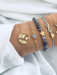 cheap -5pcs Women's Chain Bracelet Bead Bracelet Pendant Bracelet Layered Maps Letter Turtle Ladies Vintage Punk Korean Sweet Resin Bracelet Jewelry Gold For Gift Daily Street Going out
