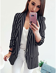 cheap -Women's Daily Basic Spring &  Fall Long Jacket, Striped Straight Collar Long Sleeve Cotton / Polyester White / Black