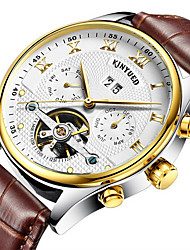 cheap -KINYUED Men's Skeleton Watch Wrist Watch Mechanical Watch Automatic self-winding Roman Numeral Luxury Water Resistant / Waterproof Analog black / gold Brown / Gold White / Leather / Chronograph