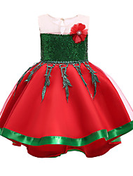 cheap -Kids Toddler Girls' Active Sweet Christmas Party Holiday Patchwork Christmas Halloween Sequins Sleeveless Knee-length Dress Gold