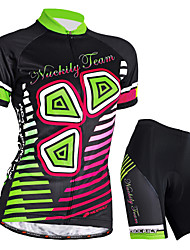 cheap -Nuckily Women's Short Sleeve Cycling Jersey with Shorts Black Bike Shorts Jersey Clothing Suit Waterproof Breathable Ultraviolet Resistant Waterproof Zipper Reflective Strips Sports Polyester Elastane