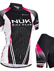cheap -Nuckily Women's Short Sleeve Cycling Jersey with Shorts Black Gradient Bike Shorts Jersey Padded Shorts / Chamois Waterproof Breathable Ultraviolet Resistant Waterproof Zipper Reflective Strips Sports