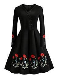 cheap -Women's Daily Going out Vintage Elegant Slim Sheath Little Black Dress - Floral Embroidered V Neck Spring Cotton Black XXL XXXL XXXXL