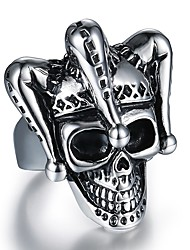 cheap -Men's Ring 1pc Silver Titanium Steel Steel Stainless Round irregular Stylish Vintage Hip-Hop Street Club Jewelry Vintage Style Stylish Mexican Sugar Skull Clown Skull Cool