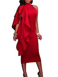 cheap -Women's Red Blue Dress Sexy Summer Cocktail Party Bodycon Solid Colored Crew Neck Red S M Slim