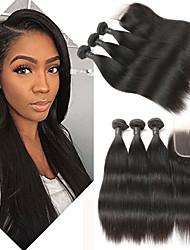 Недорогие -3 комплекта с закрытием Бразильские волосы Прямой Натуральные волосы Накладки из натуральных волос Волосы Уток с закрытием 8-26 дюймовый Ткет человеческих волос / 8A