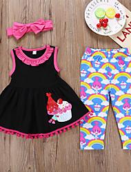 cheap -Kids Girls' Active Holiday Cartoon Halloween Print Sleeveless Cotton Clothing Set Black