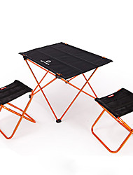 cheap -BEAR SYMBOL Camping Folding Table with Stools Portable Anti-Slip Ultra Light (UL) Foldable Oxford Cloth 7075 Aluminium 2 Stools 1 Table for Fishing Camping Autumn / Fall Spring Orange