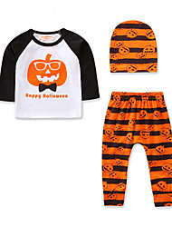 cheap -Baby Boys' Casual / Active Daily / Holiday Print / Halloween Print Long Sleeve Regular Clothing Set Orange / Toddler