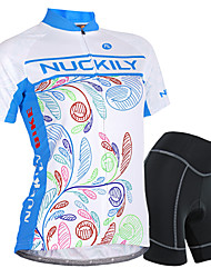 cheap -Nuckily Women's Short Sleeve Cycling Jersey with Shorts Blue Floral Botanical Bike Shorts Jersey Clothing Suit Waterproof Breathable 3D Pad Reflective Strips Sweat-wicking Sports Polyester Spandex