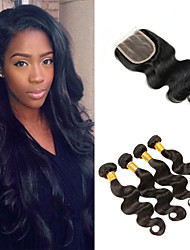 cheap -4 Bundles With Closure Brazilian Hair Body Wave Remy Human Hair Human Hair Extensions Hair Weft with Closure 8-26 inch Natural Human Hair Weaves Soft Best Quality New Arrival Human Hair Extensions