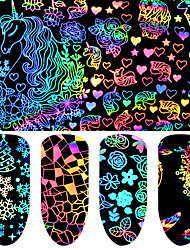 cheap -8 pcs Foil Sticker Cartoon Series / Flower nail art Manicure Pedicure New Design / Best Quality Geometric / Trendy Christmas / Halloween / Party / Evening