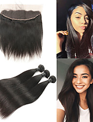 cheap -3 Bundles with Closure Indian Hair Straight Remy Human Hair Human Hair Extensions Hair Weft with Closure 8-26 inch Human Hair Weaves Soft Best Quality New Arrival Human Hair Extensions / 10A