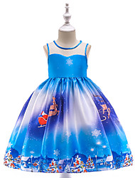 cheap -Kids Toddler Girls' Vintage Active Christmas Party Holiday Patchwork Christmas Sleeveless Knee-length Dress Blue