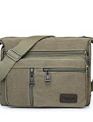cheap -Men's Bags Canvas Shoulder Messenger Bag Crossbody Bag Zipper Solid Color Daily Outdoor Canvas Bag MessengerBag Black Army Green Khaki Brown