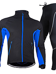 cheap -Nuckily Men's Long Sleeve Cycling Jersey with Tights Red Green Blue Solid Color Bike Clothing Suit Waterproof Thermal / Warm Breathable 3D Pad Quick Dry Winter Sports Polyester Fleece Solid Color