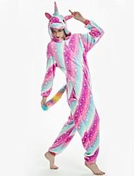 cheap -Adults' Kigurumi Pajamas Unicorn Pony Onesie Pajamas Flannel Fabric Rainbow Cosplay For Men and Women Animal Sleepwear Cartoon Festival / Holiday Costumes