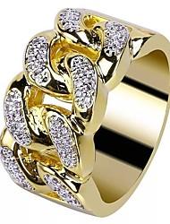 cheap -Men's Ring Cubic Zirconia 1pc Gold 18K Gold Plated Copper Rhinestone Round Stylish European Trendy Wedding Masquerade Jewelry Stylish Creative Cool