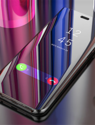 cheap -Case For Apple iPhone X / iPhone 8 Plus / iPhone 8 Mirror / Flip / Auto Sleep / Wake Up Full Body Cases Solid Colored Hard PC
