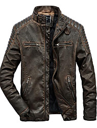 cheap -Men's Going out Spring &  Fall / Winter Regular Jacket, Color Block Stand Long Sleeve Polyester Brown