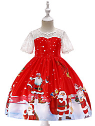 cheap -Kids Toddler Girls' Active Vintage Christmas Party Holiday Cartoon Christmas Short Sleeve Knee-length Dress Red