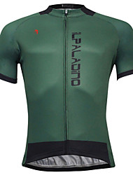 cheap -ILPALADINO Men's Short Sleeve Cycling Jersey Dark Green Bike Jersey Top Mountain Bike MTB Road Bike Cycling Quick Dry Sports Polyester Coolmax® Eco-friendly Polyester Clothing Apparel / Stretchy