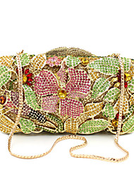 cheap -Women's Bags Alloy Clutch Crystals Hollow-out Floral Print for Wedding / Party / Event / Party Gold / Rhinestone Crystal Evening Bags