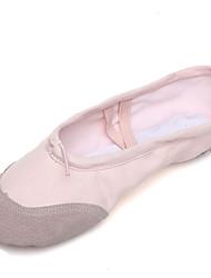 cheap -Women's Dance Shoes Canvas / Pigskin Ballet Shoes Splicing Flat Flat Heel Customizable Pink / Practice