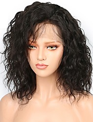 cheap -Human Hair Lace Front Wig Bob style Brazilian Hair Burmese Hair Water Wave Natural Natural Black Wig 130% Density with Baby Hair Women Easy dressing Best Quality Hot Sale Women's Short Human Hair