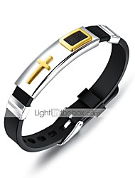 cheap -Men's Leather Bracelet Classic Cross Stylish Genuine Leather Bracelet Jewelry Gold / Black / Silver For Daily / Titanium Steel / Platinum Plated / Gold Plated