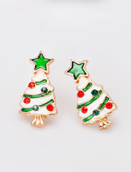 cheap -Women's Stud Earrings 3D Precious Christmas Tree Fashion Gold Plated Earrings Jewelry Rainbow For Christmas Party Gift Festival 1 Pair