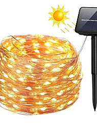 cheap -100 LEDs 10m 33ft Silver Copper Wire Solar Power String Lights Outdoor Starry Fairy String lights with 8 Mode Waterproof for Wedding Garden Home Birthday Party Patio Lawn Trees
