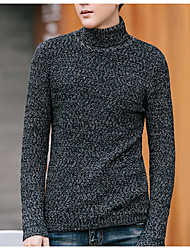 cheap -Men's Daily Basic Patchwork Solid Colored Long Sleeve Plus Size Slim Regular Pullover Sweater Jumper, Turtleneck Fall Black / Light gray / Blue M / L / XL