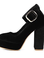 cheap -Women's Heels Chunky Heel Closed Toe Microfiber British Spring Black / Wine / Dark Blue / Daily