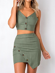 cheap -Women's Daily Going out Slim Set - Solid Colored Skirt Strap / Sexy