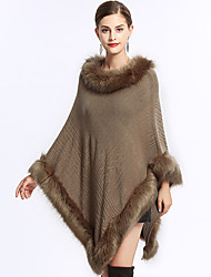 cheap -Long Sleeve Faux Fur / Acrylic Wedding / Party / Evening Women's Wrap With Split Joint Capes