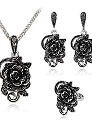 cheap -Women's Gray Cubic Zirconia Vintage Necklace Retro Flower Shape Ladies Vintage Earrings Jewelry Silver For Party Daily 1 set