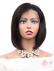 cheap -Remy Human Hair Lace Front Wig Bob Short Bob Middle Part style Brazilian Hair Natural Straight Natural Black Wig 130% Density with Baby Hair Best Quality Unprocessed Tie Up Women's Short Human Hair