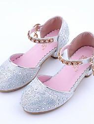 cheap -Girls' Flower Girl Shoes PU Heels Toddler(9m-4ys) / Little Kids(4-7ys) / Big Kids(7years +) Rhinestone Gold / Silver Spring &  Fall